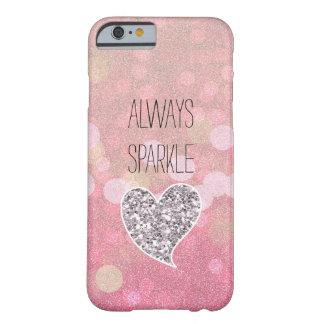 Corazón rosado del brillo de la plata de la chispa funda de iPhone 6 barely there