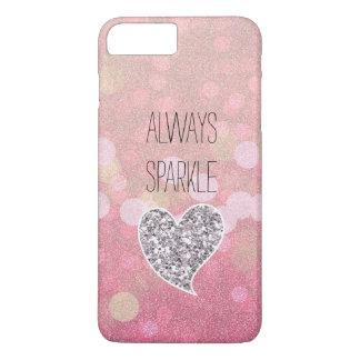 Corazón rosado del brillo de la plata de la chispa funda iPhone 7 plus