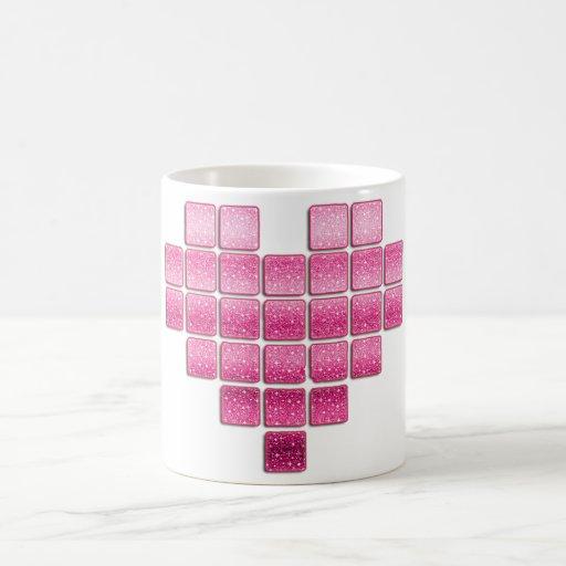 corazón rosado del brillo tazas de café