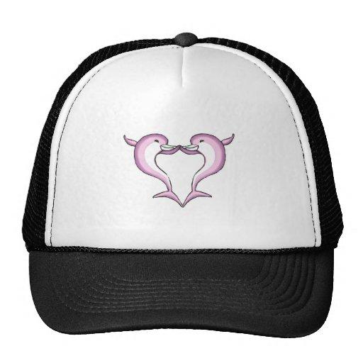 corazón rosado del delfín gorras de camionero