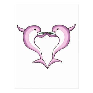 corazón rosado del delfín tarjetas postales