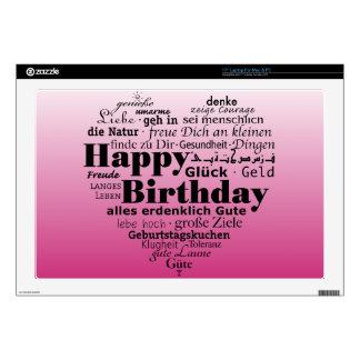 Corazón rosado del feliz cumpleaños calcomanía para portátil
