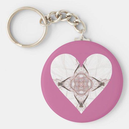 Corazón rosado del fractal llaveros personalizados