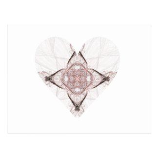 Corazón rosado del fractal tarjetas postales