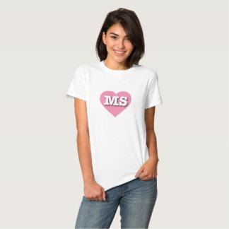 Corazón rosado del ms de Mississippi Playera