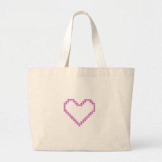 Corazón rosado del pixel bolsa tela grande