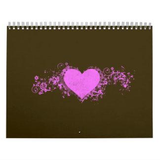 Corazón rosado del remolino en el fondo de Brown Calendario