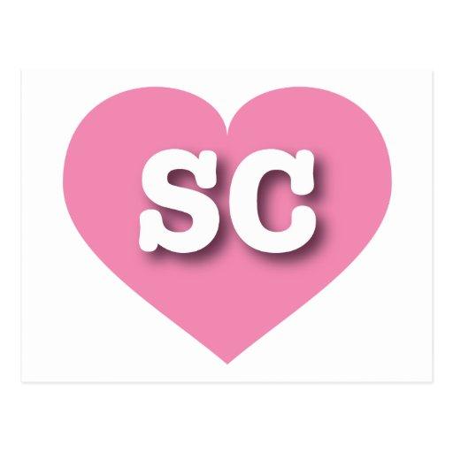 Corazón rosado del SC de Carolina del Sur Postal