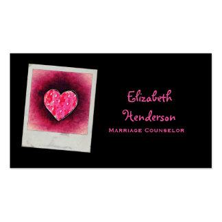 Corazón rosado dibujado mano linda tarjetas de visita