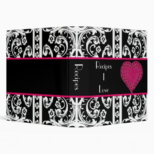 Corazón rosado elegante y carpeta barroca de la