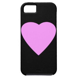 Corazón rosado en negro iPhone 5 carcasa