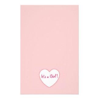 Corazón rosado es un chica papelería personalizada