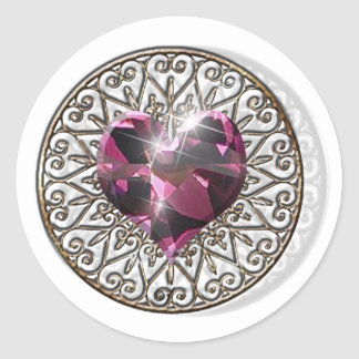 Corazón rosado etiquetas redondas