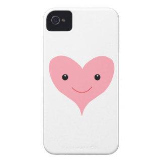 Corazón rosado feliz iPhone 4 Case-Mate funda