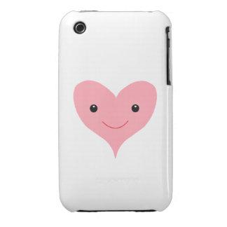 Corazón rosado feliz iPhone 3 funda