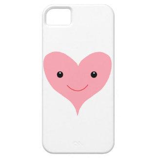 Corazón rosado feliz iPhone 5 fundas