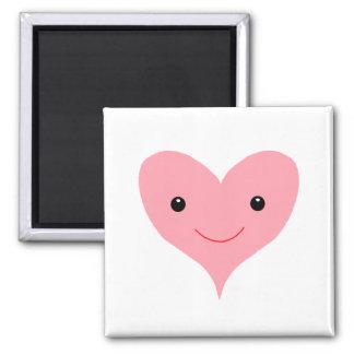 Corazón rosado feliz imán cuadrado