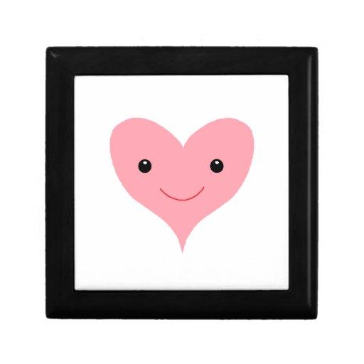 Corazón rosado feliz joyero cuadrado pequeño