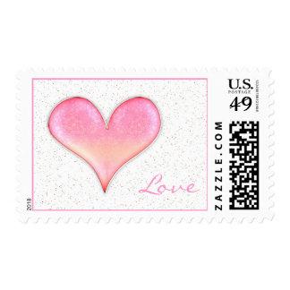 Corazón rosado femenino adorable del amor el   sellos postales
