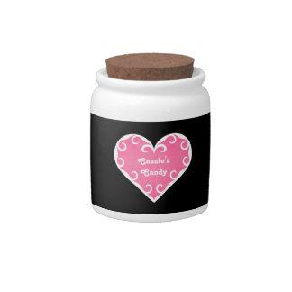 Corazón rosado femenino con volantes bonito platos para caramelos