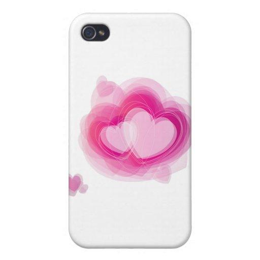 corazón rosado iPhone 4/4S carcasas