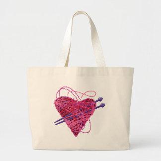 corazón rosado kniting bolsas