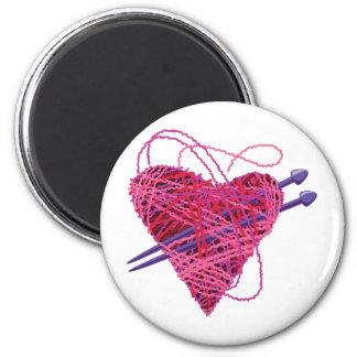 corazón rosado kniting imán redondo 5 cm