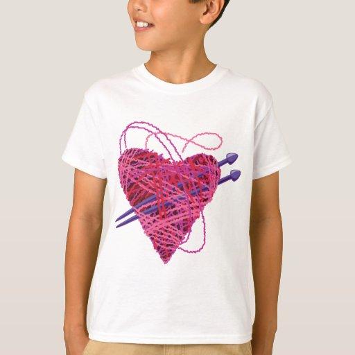 corazón rosado kniting playera