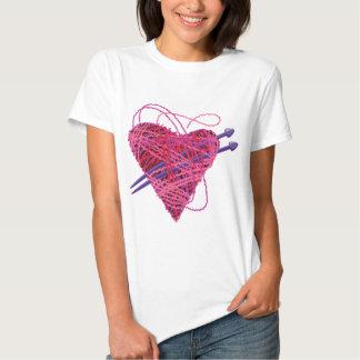 corazón rosado kniting remera