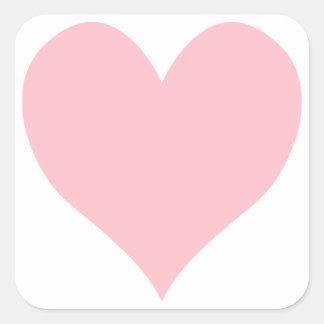 Corazón rosado lindo pegatina cuadrada
