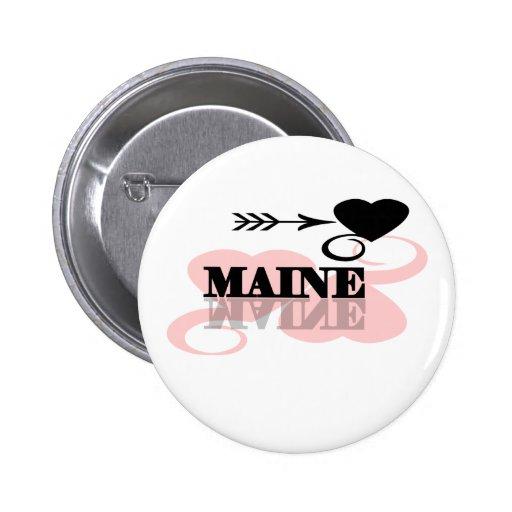 Corazón rosado Maine Pins