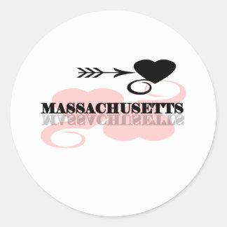 Corazón rosado Massachusetts Pegatina Redonda