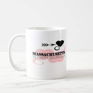 Corazón rosado Massachusetts Taza Básica Blanca