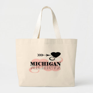 Corazón rosado Michigan Bolsa De Tela Grande