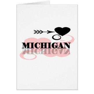 Corazón rosado Michigan Tarjeta De Felicitación