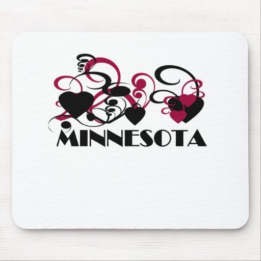 Corazón rosado Minnesota Tapetes De Ratones
