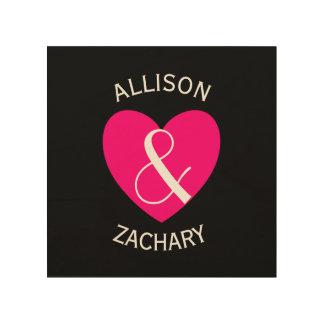 Corazón rosado moderno Z03 de novia y del novio Impresión En Madera