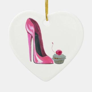 Corazón rosado Orname de la magdalena del zapato y Ornamento Para Arbol De Navidad