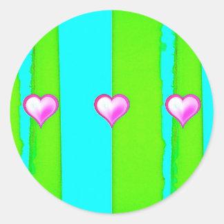 Corazón rosado pegatinas redondas