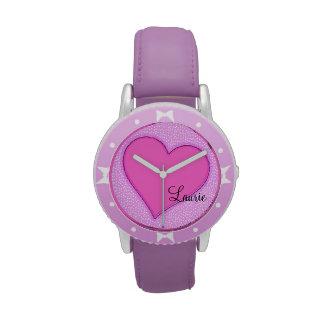 Corazón rosado personalizado relojes de pulsera