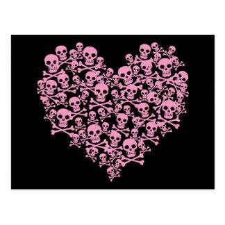 Corazón rosado punky del cráneo postal