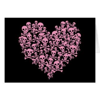 Corazón rosado punky del cráneo tarjeta de felicitación
