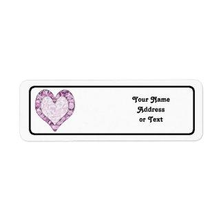 Corazón rosado/púrpura del arbolado del camuflaje etiqueta de remite