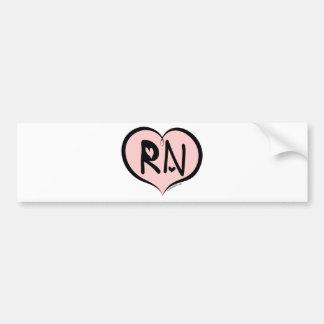 Corazón rosado RN Etiqueta De Parachoque