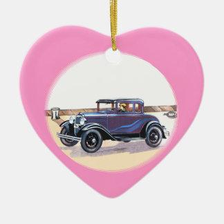 corazón rosado romántico del automóvil del vintage adorno de cerámica en forma de corazón