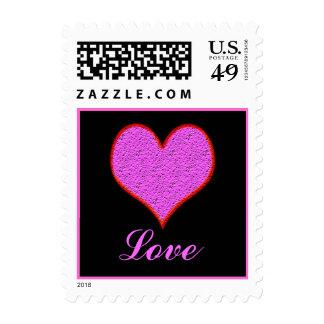 corazón rosado sello