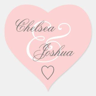 Corazón rosado V07 del boda del sello del sobre Pegatina En Forma De Corazón