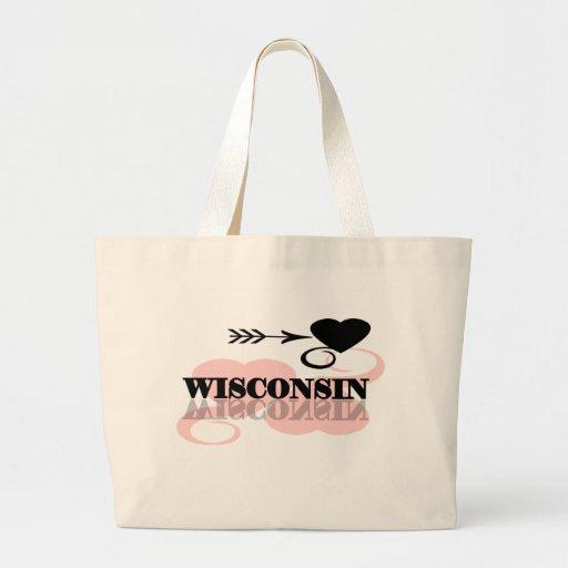 Corazón rosado Wisconsin Bolsa De Tela Grande