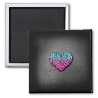 Corazón rosado y azul de Warrpaed Imán Para Frigorífico