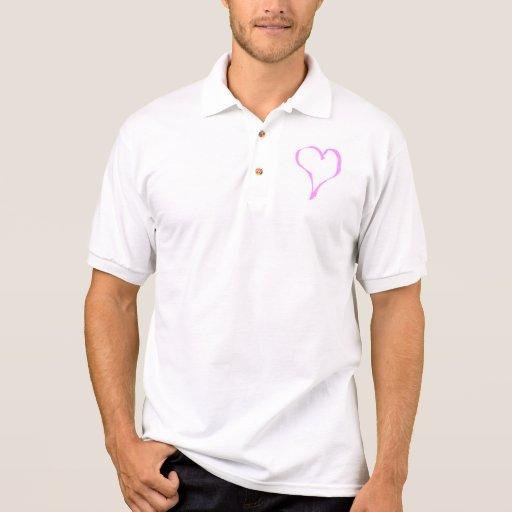 Corazón rosado y blanco bonito del amor camisetas